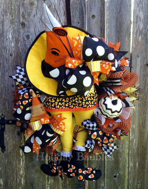 Candy Corn Witch Halloween Wreath Witch by HolidayBaublesWreath