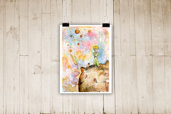 The LITTLE PRINCE on the planet Watercolor Print by ColorfulSimone