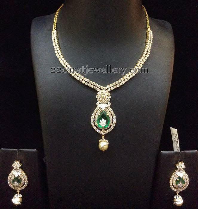 Simple Diamond Sets by Bombay Jewellery   Jewellery Designs