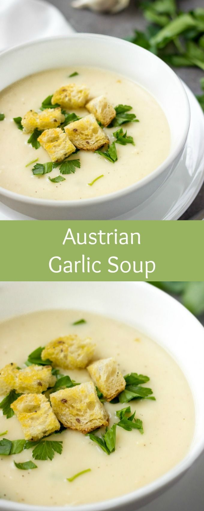 Looking for quick soup recipes? Austrian Garlic Soup is the QUICKEST and most delicious recipe you'll ever need. Made in under 15 minutes, this easy soup recipe is addictive. You'll lick the bowl and ask for more! One of the best comfort food recipes. #souprecipes #comfortfood #winterrecipes #comfortfoodfeast