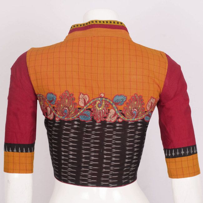 Hand Crafted Orange Cotton Blouse With Embroidered Mirror Work, Kalamkari, Ikat Prints & Lining 10016337 Size - 38 - AVISHYA.COM
