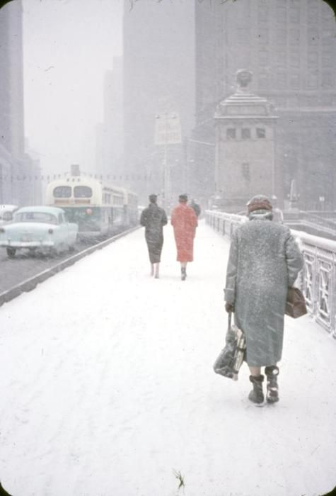 On a bridge, Michigan Avenue, in a snow storm, 1956, Chicago.
