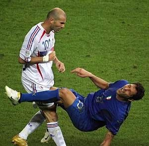 Frances Zinedine Zidane headbutts Italys Marco Materazzi in the Final of World Cup 2006. He receives a red card shortly after and Italy win on penalties