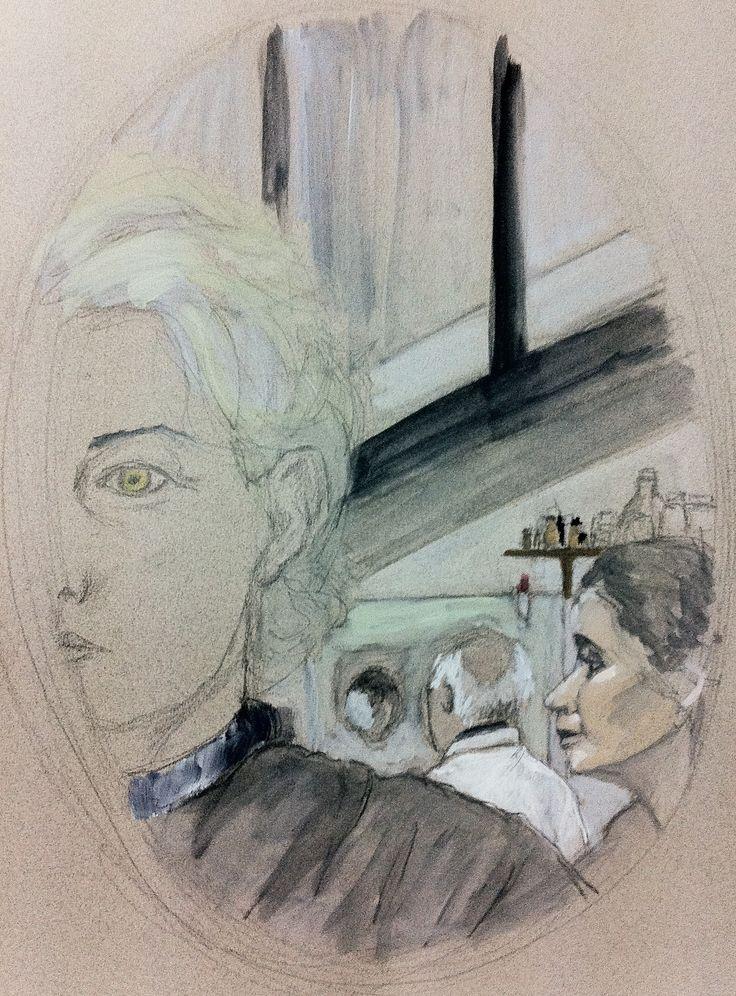 demi-autoportrait avec modèle et élève travaillant dans le miroir. crayon et huile sur papier. mid-selfportrait sketch with the model on the mirror, pencil and oil on paper.