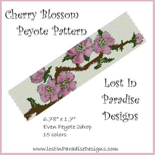 Peyote Bracelet Pattern Cherry Blossom (Buy 2 get 1 Free) | LostInParadise - Patterns on ArtFire