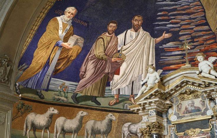 Basilica dei Santi Cosma e Damiano, Roma. Il mosaico dell'abside, risalente al 530. Forse l'ultimo capolavoro della pittura romana paleocristiana.