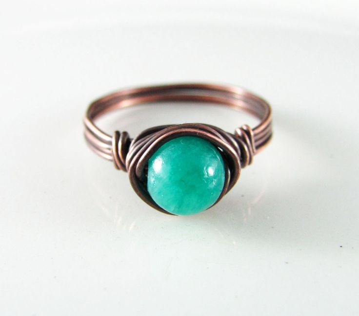 Wire Wrapped Ring Turquoise Ring Quartzite Copper Ring Wire Wrapped Jewelry Blue Quartzite Ring Copper Jewelry by PolymerPlayin on Etsy