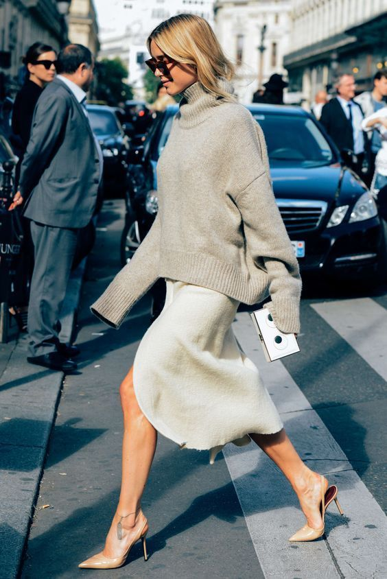 Beige oversize knit and silk skirt with nude sling-back heels on Pernille Teisbaek | @styleminimalism