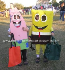 SpongeBob and Patrick Costume: These days SpongeBob and Patrick is all it's talked about at home.  So, there was not a surprise when the kids picked a SpongeBob and Patrick costume for