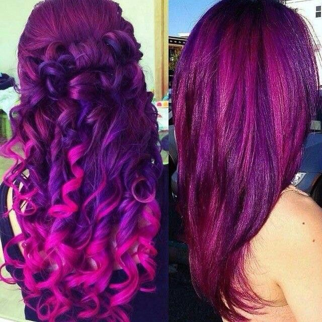 purples and pinks hair spray