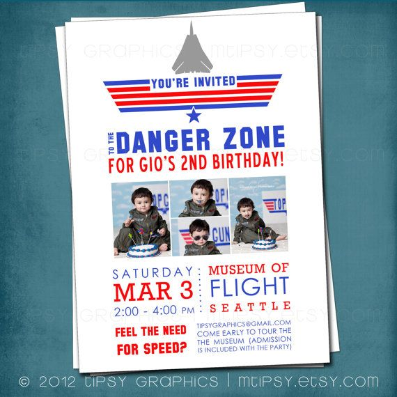 Top Gun Inspired Fighter Jet Birthday Party Invite with by MTipsy, $16.00