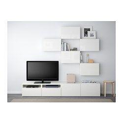 BESTÅ TV-Möbel, Kombination, weiß, Selsviken Hochglanz/weiß - 240x20/40x204 cm - Schubladenschiene, Drucksystem - IKEA
