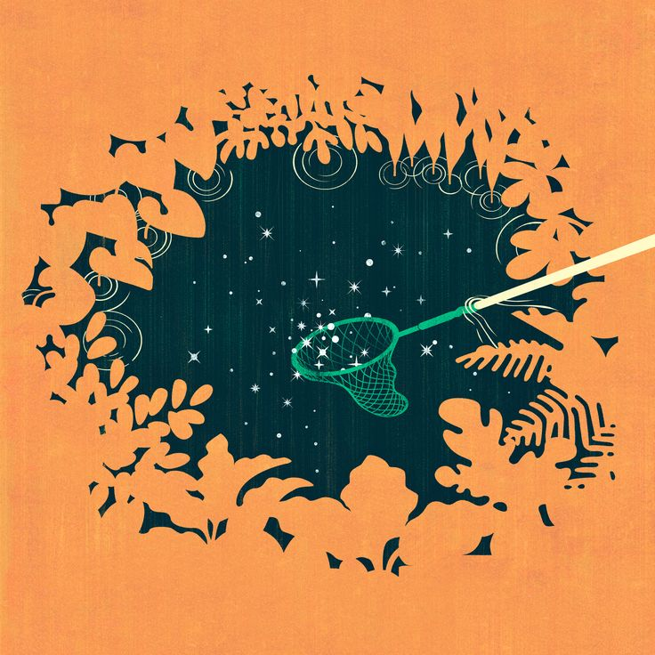 Joey Guidone - Stars in the Pond. Editorial, Surrealism, Pop Surrealism, Conceptual, Design, Poster, Forest, Water, Sky, Valuable, Butterflynet