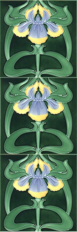 Iris repeated Moulded Art Nouveau tiles | JV