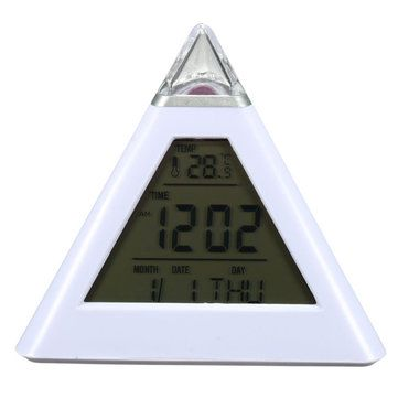 Pyramid Shape Digital Alarm Clock With Date Temperature 7 Colors LED Change Backlight Sale - Banggood.com