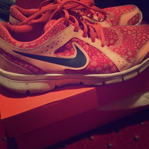 Rare- Nike leopard flex experience sneakers Size 9 but I wear a 10 and they fit fine! Really comfortable and stand out with a really cute leopard print! Got a lot of compliments on them! Nike Shoes Sneakers