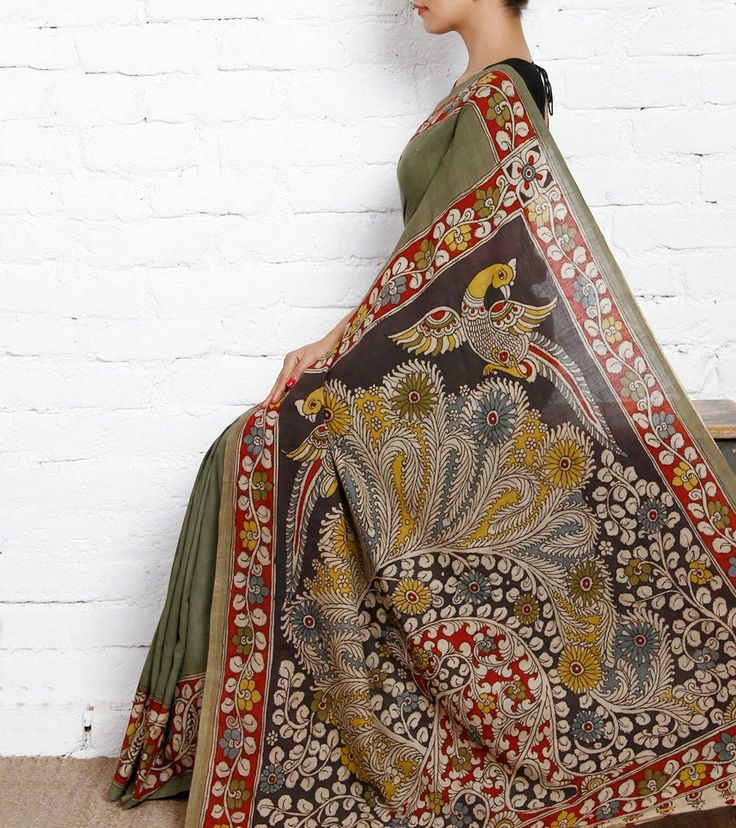 Green Cotton Saree with Kalamkari
