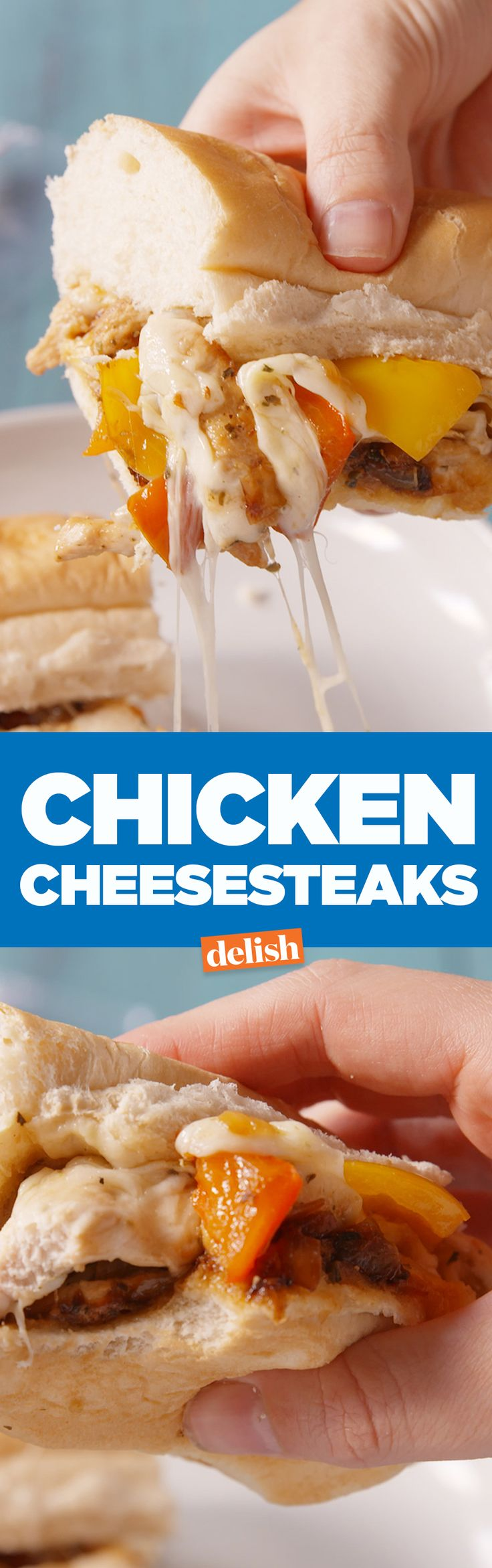 Philly cheesesteaks are great, but you need to try these chicken cheesesteaks. Get the recipe on Delish.com.