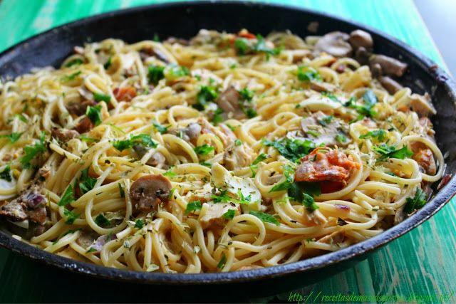Receitas de massas: Esparguete com frango e salsa com molho de cogumelos e natas ♥♥♥