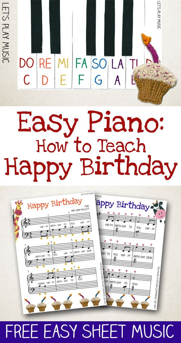 Freebie: How to Teach Piano : Happy Birthday Easy Piano  Free Music For Beginners