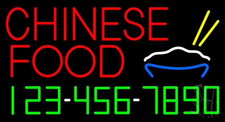 Chinese Food with Phone Number Neon Sign 20 Tall x 37 Wide x 3 Deep, is 100% Handcrafted with Real Glass Tube Neon Sign. !!! Made in USA !!!  Colors on the sign are Red, Yellow, White, Blue and Green. Chinese Food with Phone Number Neon Sign is high impact, eye catching, real glass tube neon sign. This characteristic glow can attract customers like nothing else, virtually burning your identity into the minds of potential and future customers.
