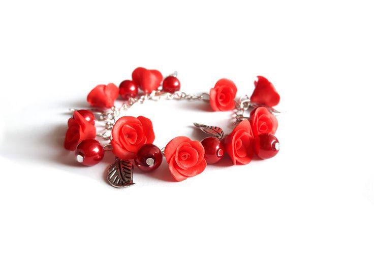 Bransoletka z różami modelina w estoresa na DaWanda.com