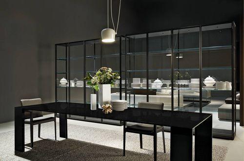 biblioteca moderna de melamina de metal de cristal. Black Bedroom Furniture Sets. Home Design Ideas