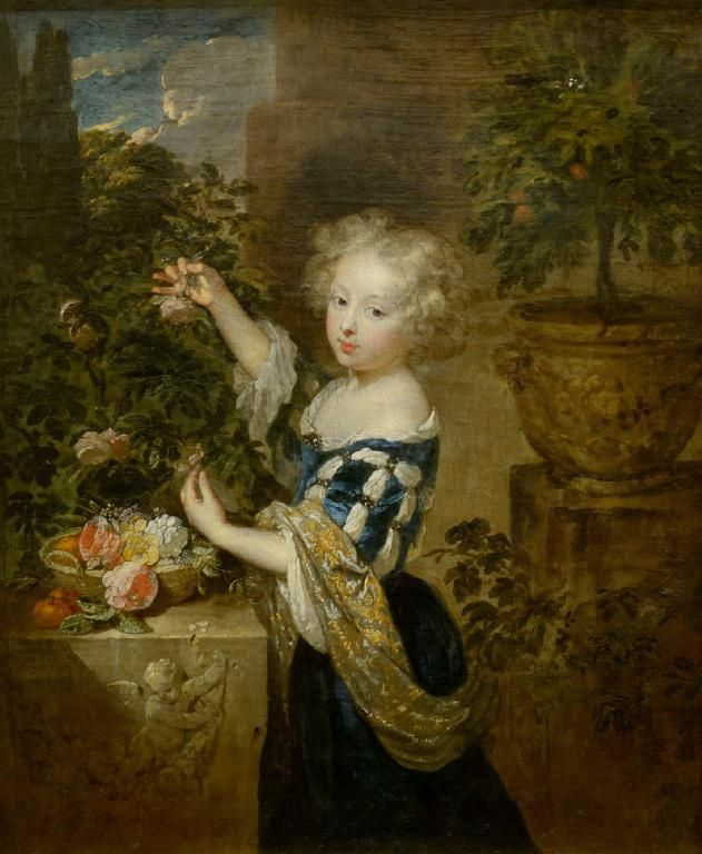 Girl arranging flowers by Caspar Netscher