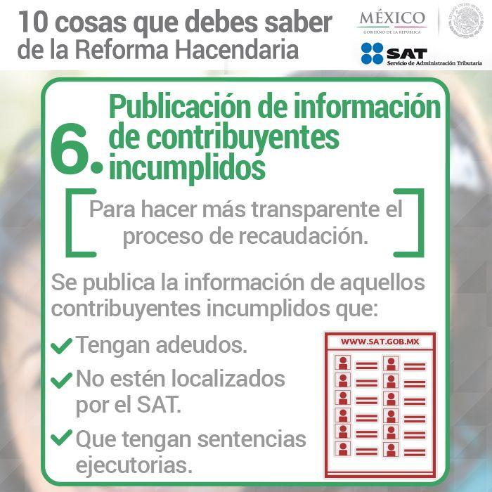 6. Publicación de información de contribuyentes incumplidos.
