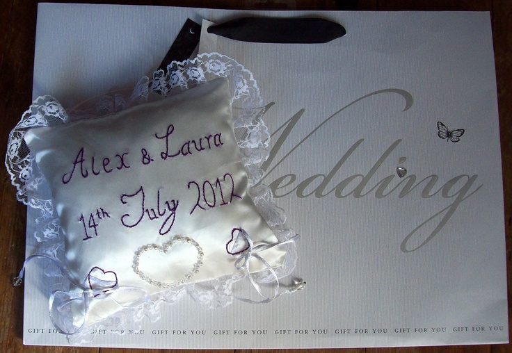 Wedding Cushion, personalized and hand decorated.  Please look at the items I sell @ www.lemayed-for-you.webs.com, thanks.