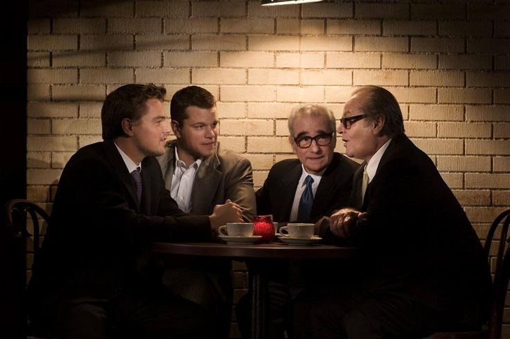 "Leonardo DiCaprio, Matt Damon, Martin Scorsese and Jack Nicholson by Greg Williams on set of ""The Departed"""