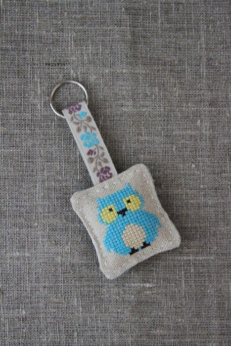 Cross-stitched linen keyring, keychain - owl, aqua blue - by Plushka on madeit