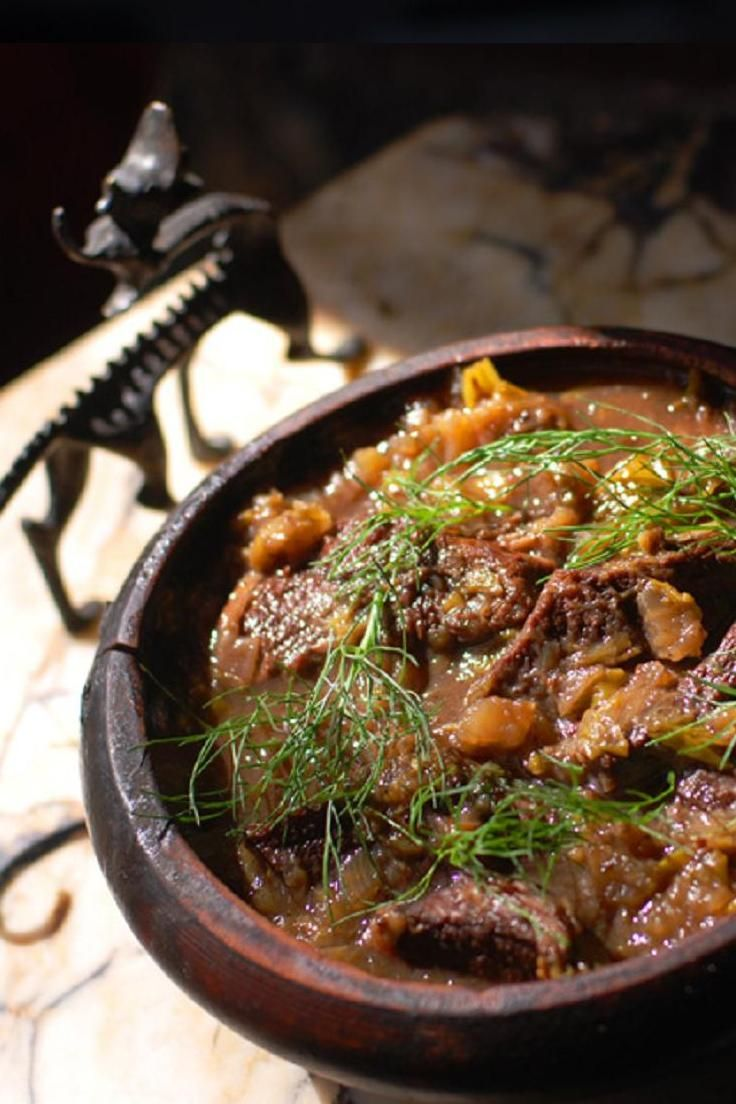 Medieval Stewed Beef with Fennel, Leeks, Celery, Verjus, Costmary, Spikenard, Vinegar, Red Wine and Italian Forest Honey. Site includes a lengthy discussion of ingredients and sources.