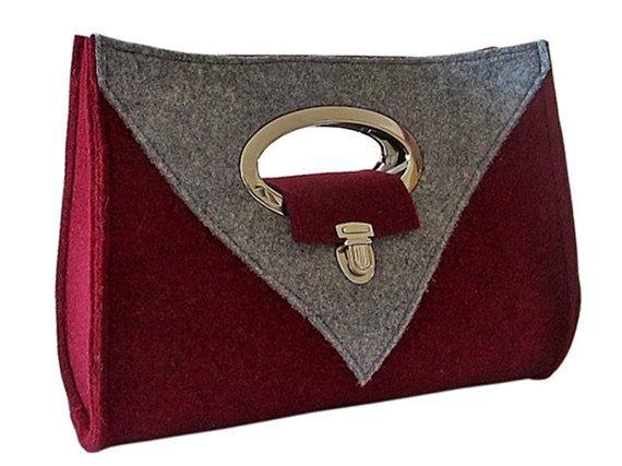 Handtasche Filz marsala / grau Henkeltasche von MargritliDesign
