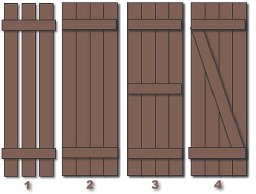 build our own board and batten shutters like one of these patterns.  I like 2 and 4.