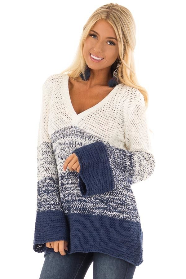 926c91315e Lime Lush Boutique - Cream and Royal Blue Ombre Knit Sweater