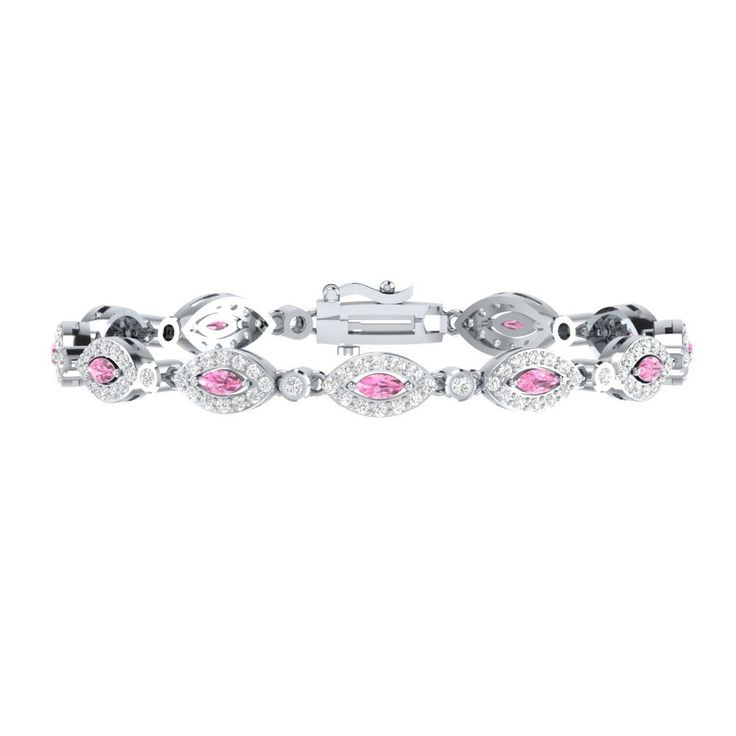 "New Style 7"" Tennis Bracelet 4.10 Ct Light Pink W/ White Sapphire 925 Sterling #braceletrealgold #Tennis"