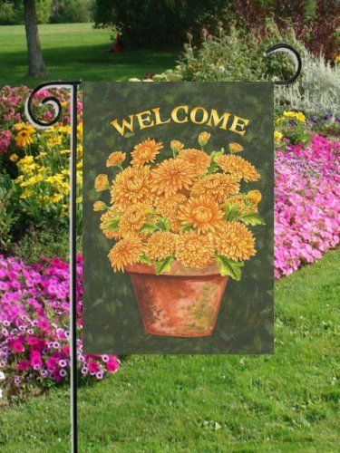 Welcome mums garden size 12 inch x 18 inch decorative for Custom decor inc