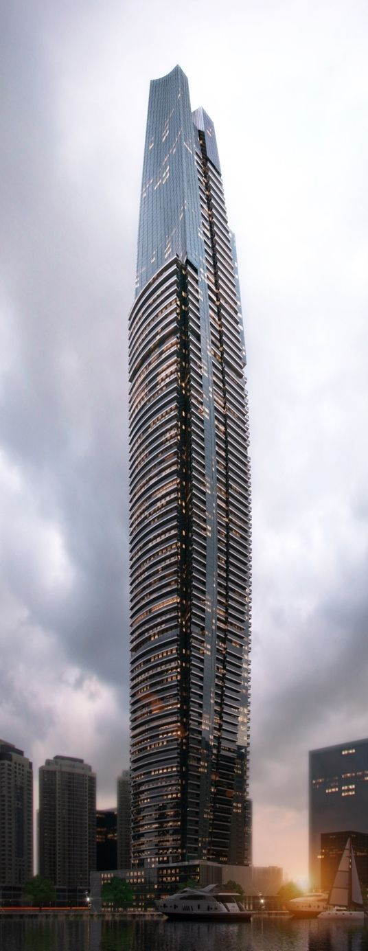 DAMAC Heights, Dubai, UAE by Aedas Architects :: 86 floors, height 335m :: under construction [Future Architecture: http://futuristicnews.com/category/future-architecture/]