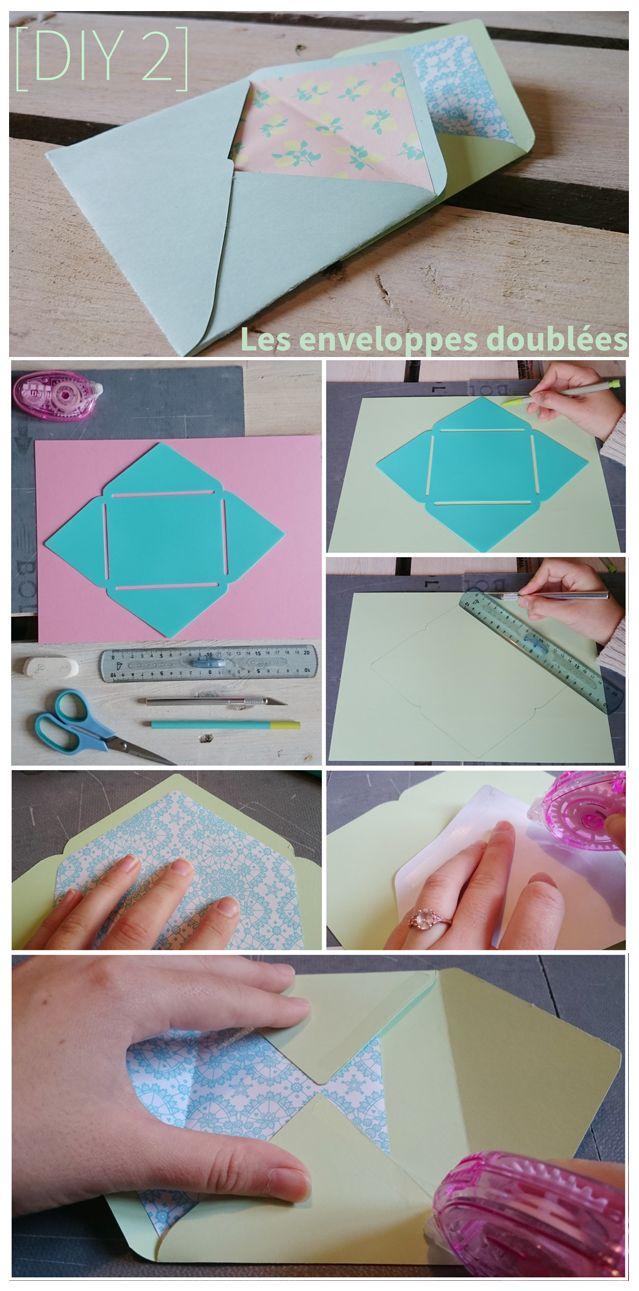 Enveloppes doublées en papier avec patron à télécharger gratuitement! Tutoriel en français :) www.agathevousgate.fr/blog