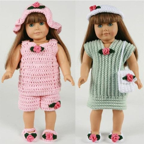 """Picture of 18"""" Doll Summer Outings Outfits Crochet Pattern"""