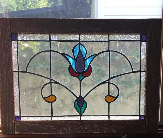 Vintage style Victorian stained glass window panel wood framed
