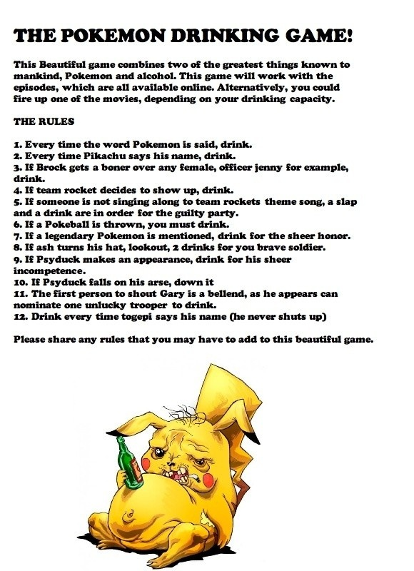Pokemon Drinking Game... Done and Done!