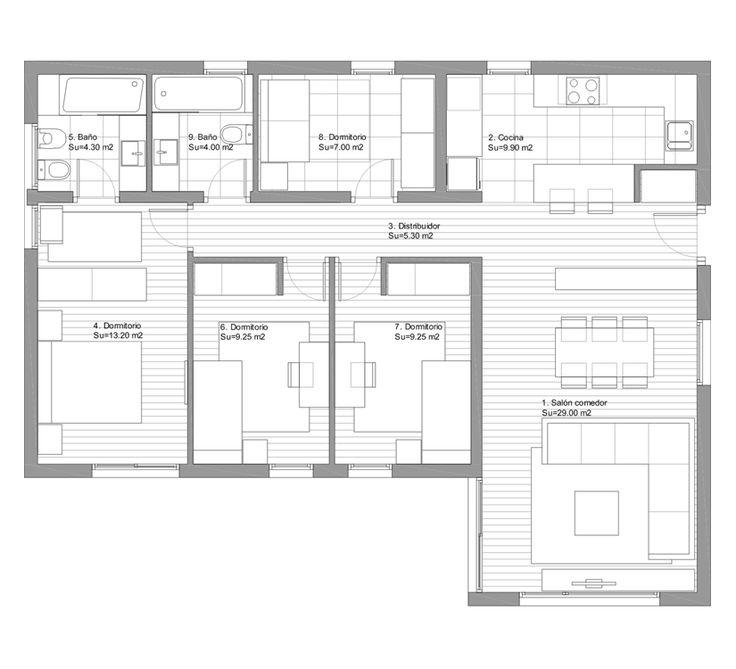 Planos de casas modernas peque as grandes rusticas minimalistas etc plano de casa - Planos de casas de una planta 4 dormitorios ...