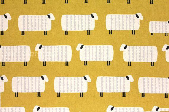 Japonais tissu Kokka Ellen Baker - moutarde de charmes - mouton-