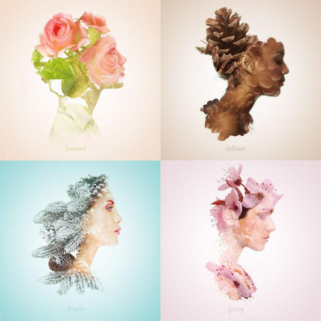 Using the changing seasons as inspiration, graphic designer and illustrator Alon Avissar developed this grid of double-exposure portraits entitled Seasonal Beauties.