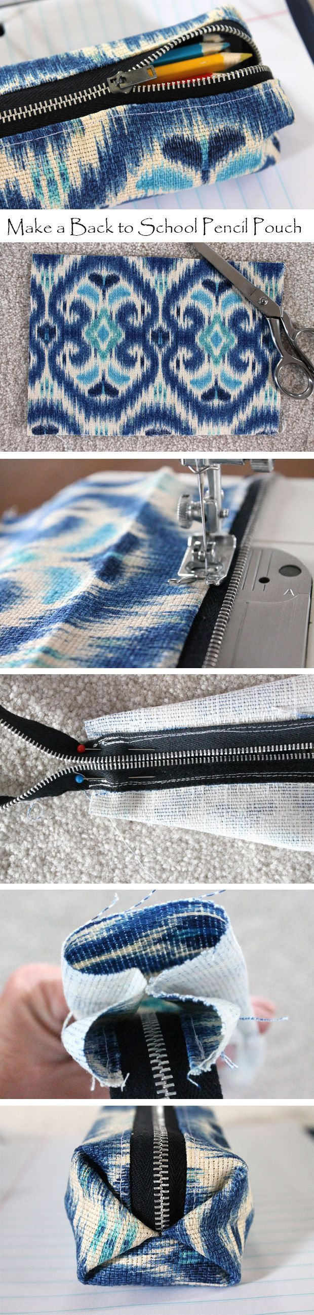 Cheap, but stylish pencil bag for your student. Simple sewing techniques and a great step-by-step tutorial by Beth Huntington.