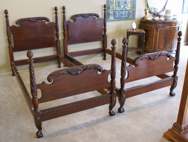 Gorgeous matched pair of solid mahogany acanthus carved twin beds For Sale | Antiques.com | Classifieds