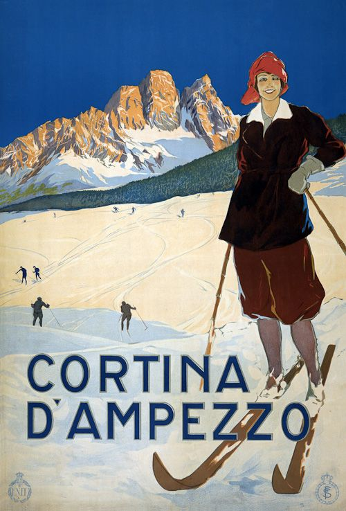 This is a vintage Italian travel poster showing a young woman posed on ski slopes at Cortina d'Ampezzo. Circa 1920.