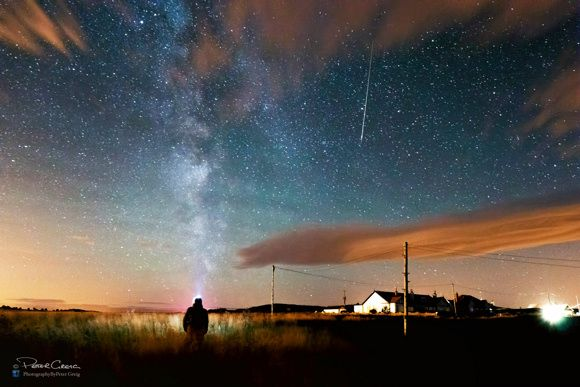 """Peter Greig told us, """"I saw around a dozen meteors tonight (night of August 10-11) up at Bamburgh. The only one I caught was captured with the first 10 minutes of arriving."""" Thank you Peter!"""